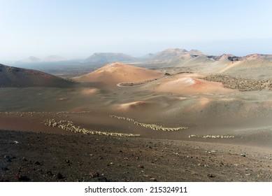 Volcanos at Timanfaya National Park, Lanzarote, Canary Islands, Spain.