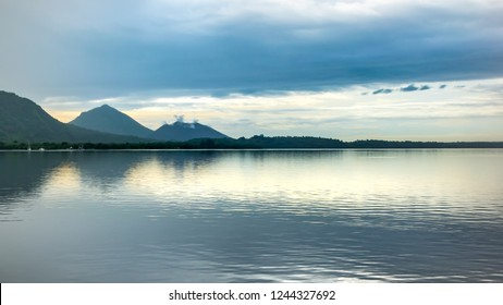 Volcanous panoramic landscape with reflection, Rabaul, Papua New Guinea