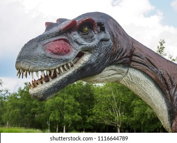 VOLCJI POTOK, SLOVENIA - May 26th 2018: Tiranosaus rex at he dinosaur exhibition in botanic park Arboretum in Volcji Potok, Slovenia attracts young and old to