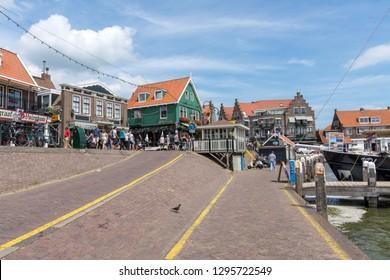 Volendam, Holland, July 30, 2018. Waterfront shopping precinct at Volendam with tourists