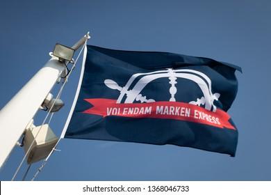 Volendam/ Marken, Netherlands - April 7, 2019: Company flag of the Volendam Marken Express - founded in 1889, the ferry operates between Volendam harbour and Marken village all year round