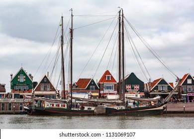 Volendam / Netherlands - 06-10-2013; Old fishing ship in the harbour of Volendam, Netherlands
