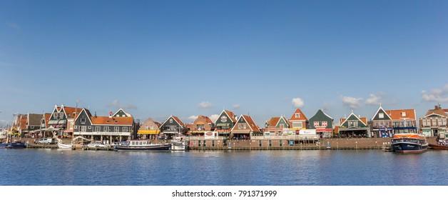 VOLENDAM, NETHERLANDS - AUGUST 25, 2017: Panorama of the historic village of Volendam, Netherlands