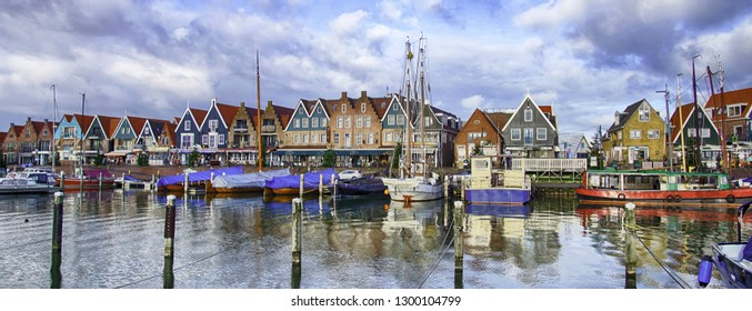 VOLENDAM, NETHERLANDS - DEC 11, 2018 - Marina and waterfront of Volendam, Netherlands
