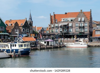Volendam, The Netherlands - June 3, 2019: Volendam harbour, North Holland Province, The Netherlands (Holland), Europe