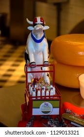 Volendam, Netherlands - March 9, 2016 - Whimsical cow figure from the Volendam Cheese Factory, Volendam Netherlands
