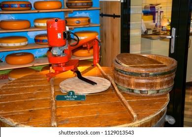 Volendam, Netherlands - March 9, 2016 - Traditional cheese making equipment at the Volendam Cheese Factory, Volendam Netherlands