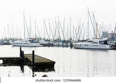 VOLENDAM, NETHERLANDS - SEPTEMBER 25, 2017: Volendam Marina. North Holland, Netherlands.