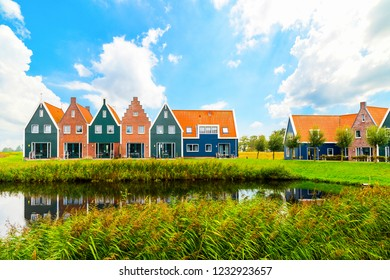 Volendam is a town in North Holland in the Netherlands. Colored houses of marine park in Volendam. North Holland, Netherlands.