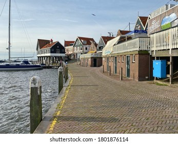 Volendam,Netherlands-October 7,2019: In the Volendam harbor. Volendam is a town in North Holland, 20 kilometres north of Amsterdam. Sometimes called The pearl of the Zuiderzee.
