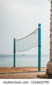 Voleyball net at the beach near the sea in Egypt.