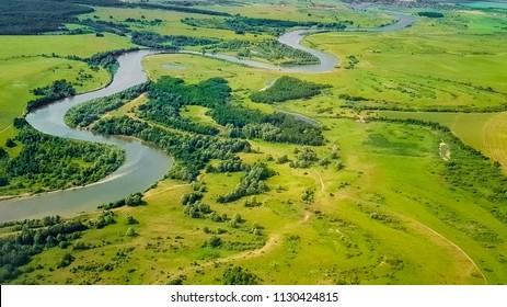 Volga river from a bird's-eye view, Russia, Tatarstan, Kazan