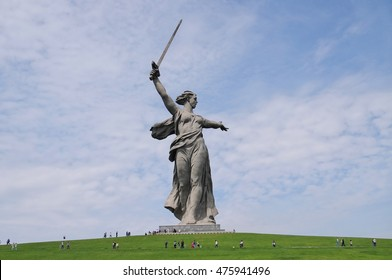 "Volgograd. Historical memorial complex ""Mamayev Kurgan"" sculpture ""The Motherland!"""