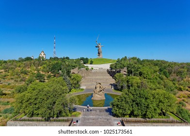 "Volgograd. July 28, 2015. Aerial view. The monument-ensemble ""Heroes of the Battle of Stalingrad"" on Mamayev Kurgan in Volgograd. Monuments  ""Standing to death!"" and ""The Motherland Call!"""