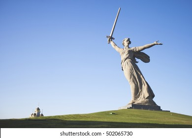 "Volgograd. ""Mamayev Kurgan"" - historical memorial complex. Sculpture ""Motherland"". Editorial. 15.10.2016"