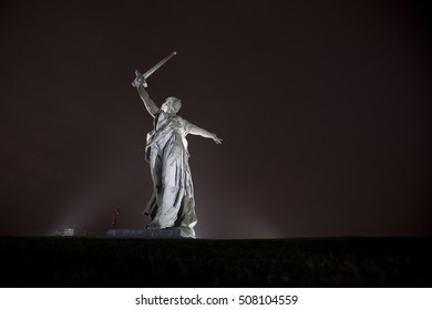 "Volgograd. ""Mamayev Kurgan"" - historical memorial complex. Sculpture ""Motherland"". Night view. Editorial. 15.10.2016"