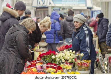 VOLGOGRAD - MARCH 8:The high demand for flowers in connection with international women's day on the streets  March 8, 2015 in Volgograd, Russia.