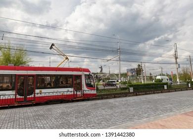 VOLGOGRAD - MAY 4: High-speed tram pulls up to the stop Volgograd stadium-arena. May 4, 2019 in Volgograd, Russia.