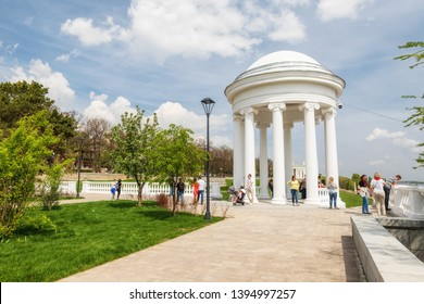 VOLGOGRAD - MAY 4: One of the attractions of the Central promenade of the city - rotunda after restoration. May 4, 2019 in Volgograd, Russia.