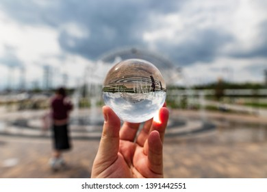 VOLGOGRAD - MAY 4: View of the Park at the foot of Mamayev Kurgan opposite the Volgograd arena stadium