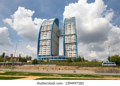 VOLGOGRAD - MAY 4: View of the residential complex Volzhskie Parusa, consisting of two buildings in the form of a sail. May 4, 2019 in Volgograd, Russia.