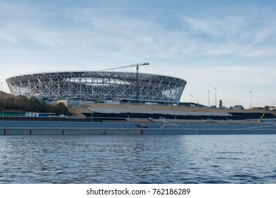VOLGOGRAD - OCTOBER 8: Construction of the new stadium for the 2018 World Cup in on October 8, 2017 in Volgograd, Russia