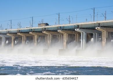 Volgograd. Russia - 16 April 2017. The dam of the Volga hydroelectric water discharge