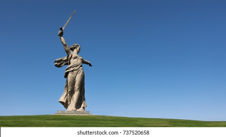 "Volgograd. Russia - 17 September 2017. The sculpture ""The Motherland!"" memorial complex on the Mamayev Kurgan in Volgograd, sculptor Evgeniy Vuchetich"