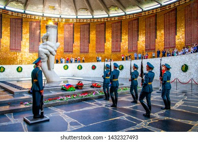VOLGOGRAD, RUSSIA - 26 MAY 2019: Guards of honour and Eternal Flame in Volgograd