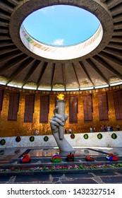VOLGOGRAD, RUSSIA - 26 MAY 2019: Guards of honour and Eternal Flame in Volgograd