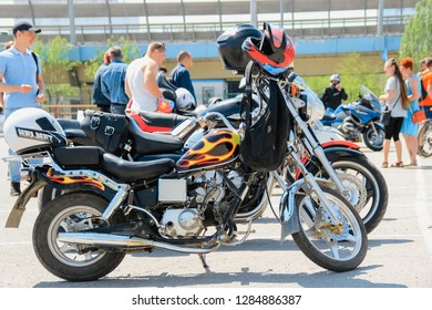 VOLGOGRAD, RUSSIA - 5 May, 2018: A meeting of bikers on motorcycles near Europe shopping Center, Volgograd