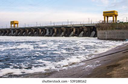 Volgograd. Russia - April 23, 2016 Volzhskaya dam hydro-power plant