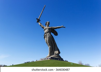 VOLGOGRAD, RUSSIA - April 26, 2015: a Monument to the woman-the mother calling for the protection of the Motherland from Nazi invaders. Installed Museum-reserve Stalingrad battle. Volgograd, Russia