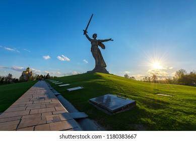 VOLGOGRAD, RUSSIA - APRIL 28, 2018: The monument of Motherland Calls in Mamayev Kurgan memorial complex in Volgograd (former Stalingrad)