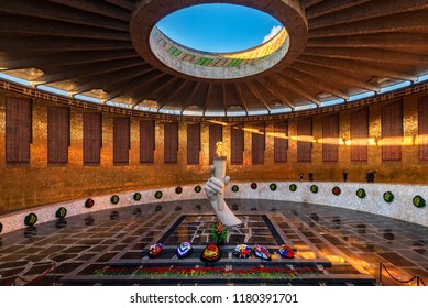 VOLGOGRAD, RUSSIA - APRIL 28, 2018: Hall of Military Glory on Mamaev Kurgan in Volgograd. Eternal flame. Memorial complex in Volgograd (formerly Stalingrad), Russia