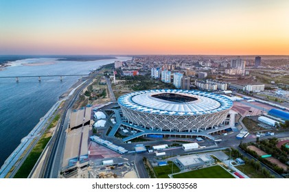 Volgograd, Russia - August 19, 2018: Aerial view of the Volgograd Arena on a bank of the Volga River. It hosts FC Rotor Volgograd and was one of the venues for the 2018 FIFA World Cup