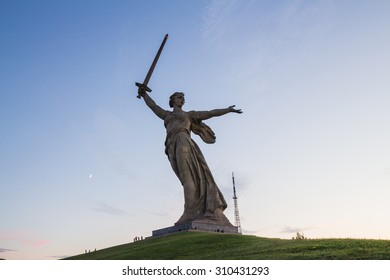 VOLGOGRAD, RUSSIA, AUGUST 2015: The Motherland Calls monument (Homeland-Mother Is Calling statue) on Mamayev Kurgan