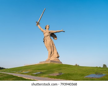 "Volgograd, Russia - August 28, 2017: ""The Motherland Calls !"" statue on a hill at the historical and memorial complex Mamayev Kurgan."