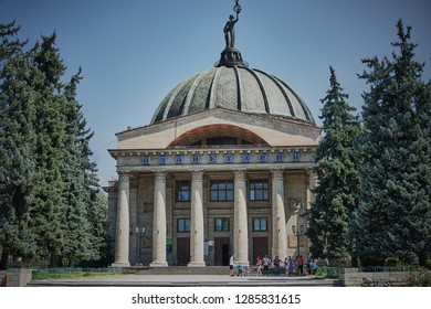 Volgograd, Russia - August 5, 2018: Volgograd Planetarium - a gift of the workers of the GDR to the Soviet people and one of the largest and most beautiful planetariums in Russia