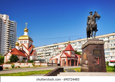 Volgograd, Russia, the Church of All Saints, in the Land of the Russian Beamed.  In the foreground is a monument to Konstantin Konstantinovich Rokossovsky.