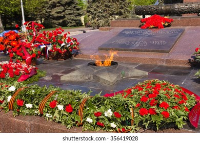 VOLGOGRAD, RUSSIA - February 13, 2015: The monument the Eternal flame, is in the central region, the area of the Fallen fighters, Volgograd, Russia