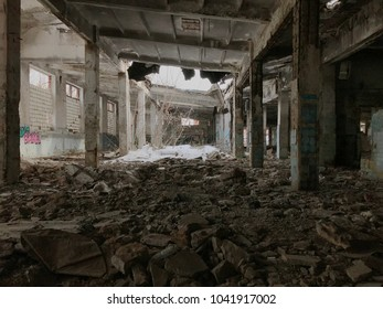 Volgograd, Russia - FEBRUARY 17,2018: abandoned and destroyed Soviet factory for the production of canned food