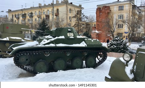 VOLGOGRAD, RUSSIA - JANUARY 13, 2018:Soviet WW2 tank. Museum of buttle for Volgograd, Russia