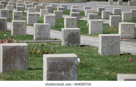 Volgograd Russia July 12, 2015  Soviet military cemetery tombstones unknown soldiers