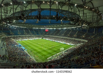 Volgograd / Russia - July 22 2018: football stadium Volgograd Arena built for FIFA World Cup 2018. Local football team ROTOR is in the game on the football field.