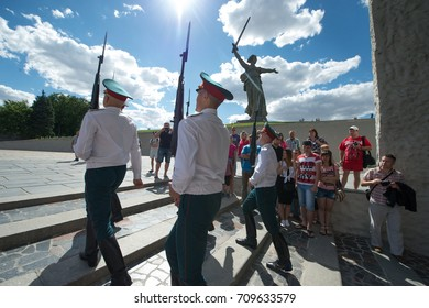 VOLGOGRAD, RUSSIA - JULY 5, 2014:The change of the guards at Mamayev hill in Volgograd.