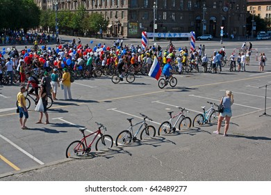 Volgograd, Russia - June 12, 2012: People take part in bike Parade on the Independence day of Russia in Volgograd