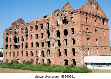 Volgograd, Russia - June 27, 2016: The ruins of the mill of Gerhardt - surviving building after the bombing by the Nazis of Stalingrad . Volgograd, Russia.
