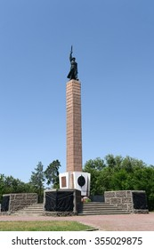 VOLGOGRAD, RUSSIA - JUNE 4, 2014:Monument to soldiers of the 10th division of the NKVD died in the defense of Stalingrad.