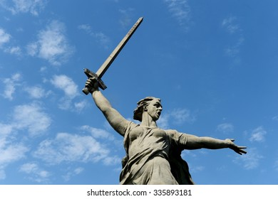 "VOLGOGRAD, RUSSIA - JUNE 6, 2014: The monument ""the Motherland calls"" in Volgograd. Volgograd - a city on the Volga river in European Russia. The hero city, the place of the battle of Stalingrad."